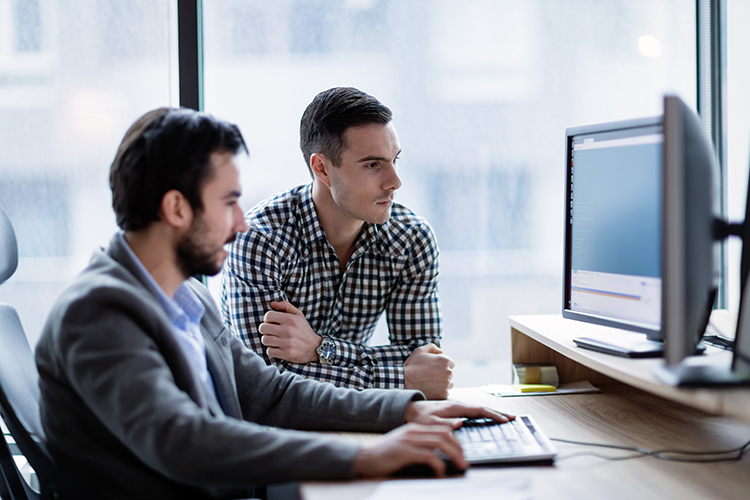 Picture of businesspeople working on computer together in office