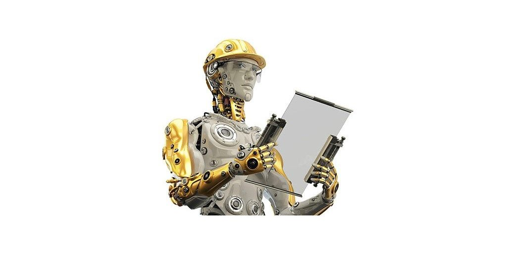 cyborg with hardhat holding glass clipboard